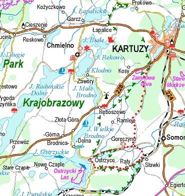 Trasa przejazdu (orientacyjnie) zaznaczona czerwonymi kropkami. Źródło: www.eko-kapio.pl