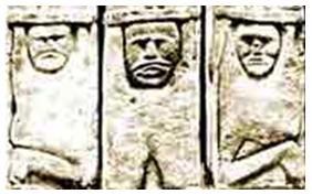 Przypuszczalne wyobrażenie Welesa-Trzygłowa w dolnej partii tzw. Światowida ze Zbrucza Źródło: Wikipedia