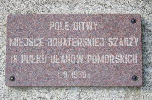 Chojnice i okolice, Krojanty, tablica pamiątkowa pod Krojantami, wikipedia.org