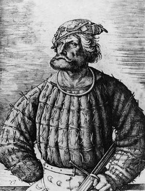 Klaus Stortebeker (Rudobrody) był przywódcą Braci Witaliskich. Został stracony w 1401 roku w Hamburgu. Przeszedł do legendy jako pirat i obrońca biednych i ućiśnionych. Źródło: By Daniel Hopfer, commons.wikimedia.org