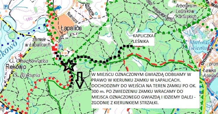 Trasa wędrówki -okolica Zamku w Łapalicach. Źródło: www.eko-kapio.pl