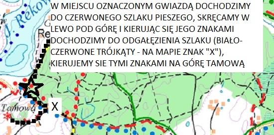 Trasa wędrówki - ścieżka do jeziora Rekowo i punktu widokowego Chochowatka. Źródło: www.eko-kapio.pl