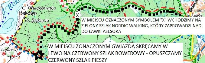 Mapa 8. Trasa wędrówki - droga powrotna do Ławki Asesora. Źródło: www.eko-kapio.pl.