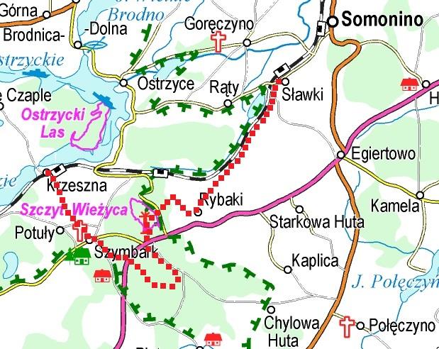 """Orientacyjna trasa mikrowyprawy """"W głąb kaszubskich gór"""". Źródło: www.eko-kapio.pl"""