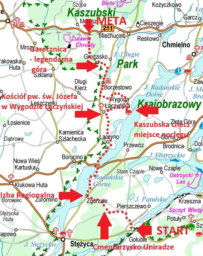 Beskid Kaszubski, styczeń 2017, Mikorowyprawa do Łączyńskiej Huty, orientacyjny przebieg trasy. Źródło: www.eko-kapio.pl