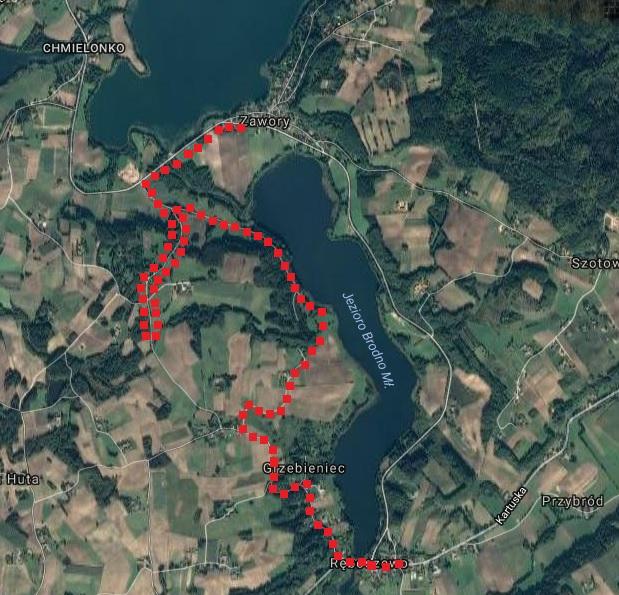 Trasa wędrówki z Zaworów do Ręboszewa. Źródło: Google Maps