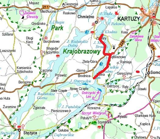Trasa, którą biegnnie współczesny czerwony szlak turystyczny, trasa opisywanej w tym artykule wędrówki. Źródło: www.ekokapio.pl
