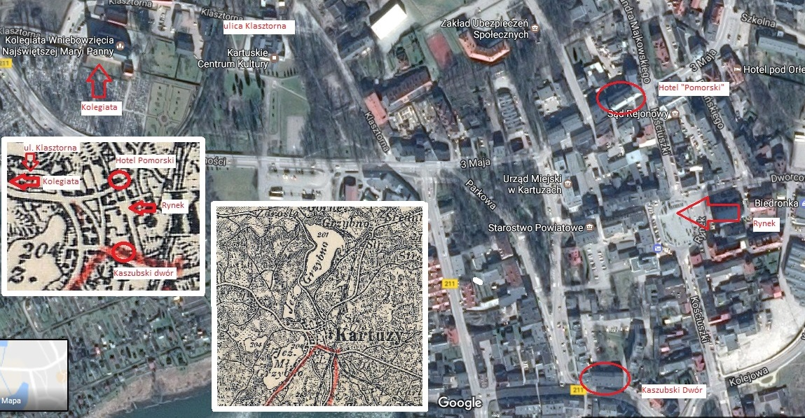 Śladami Marii Dąbrowskiej w Kartuzach. Opracowaniw własne na podstawie: 1. Google Maps. 2. Archiwum Map WIG [mapa z 1924 roku].