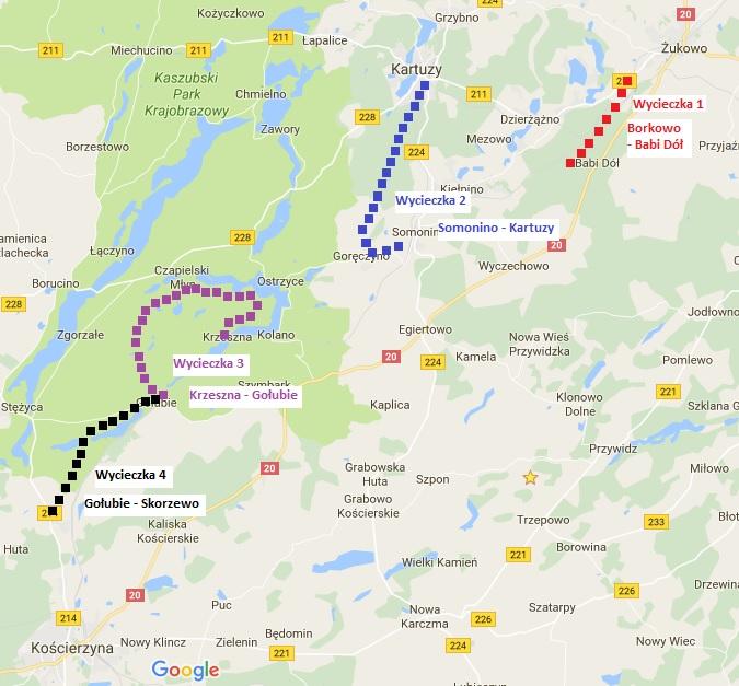 Wycieczki po Kaszubach wzdłuż linii PKM. Źródło: opracowanie własne na podst. Google Maps