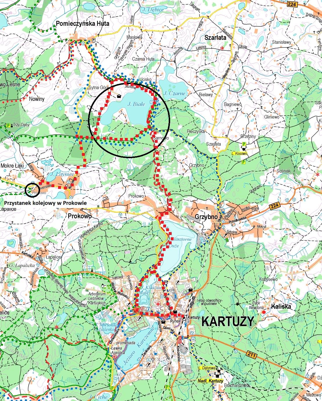Linia kolejowa Kartuzy - Sierakowice. Okolice Prokowa. Źródło: Stowarzyszenie Turystyczne Kaszuby
