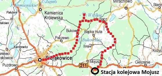 Linia kolejowa Kartuzy - Sierakowice. Okolice Mojusza. Źródło: ekokapio.pl