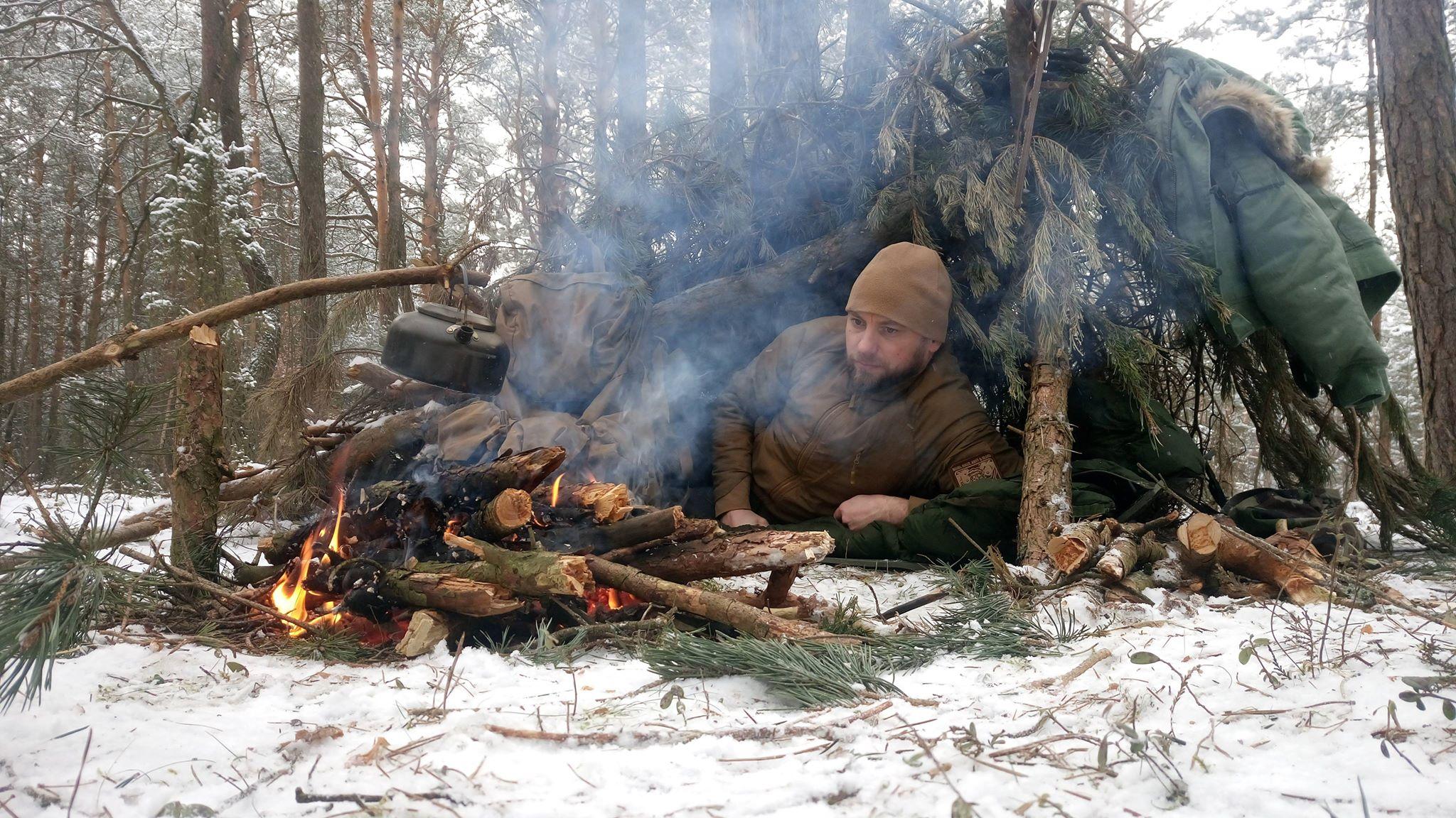 Lasy Mirachowskie zimą czyli buschcraft w wersji light 20