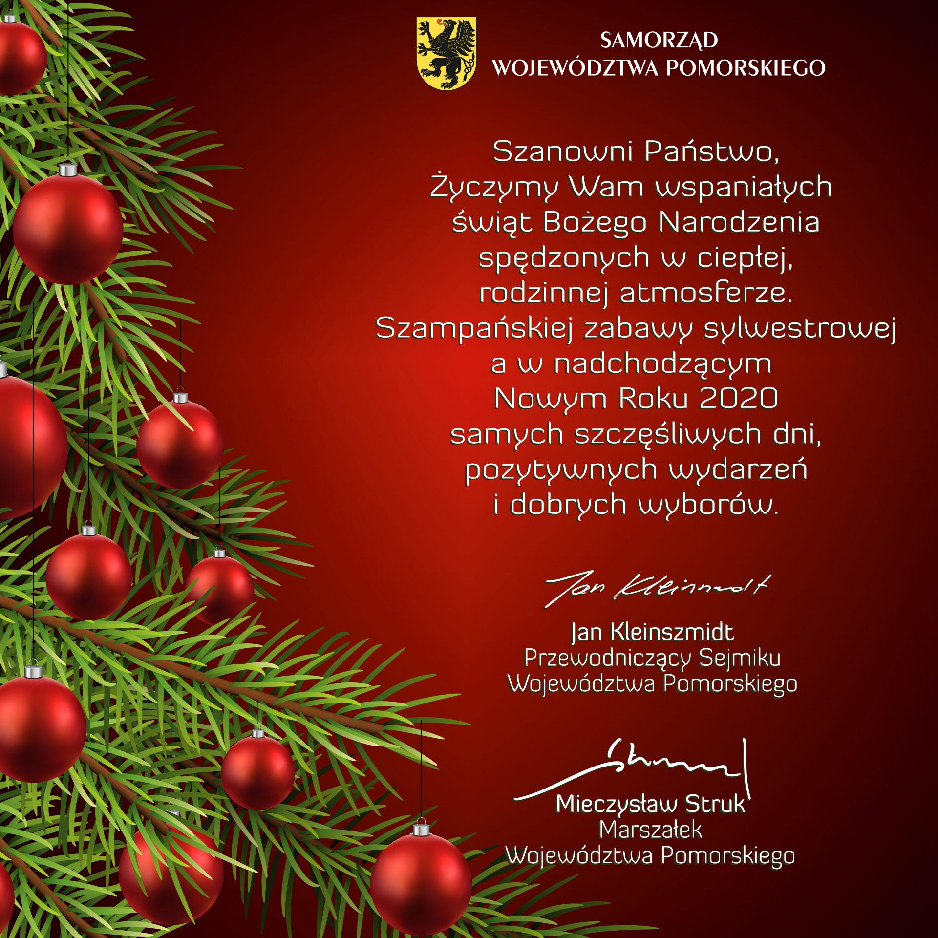 Przewodniczący Sejmiku i Marszałek składają życzenia Czytelnikom Magazynu Kaszuby